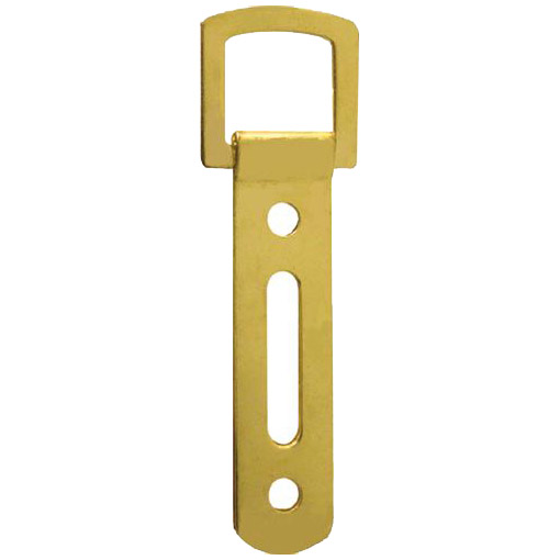 Heavy Duty Slotted Strap Hanger Brass Plated 85mm