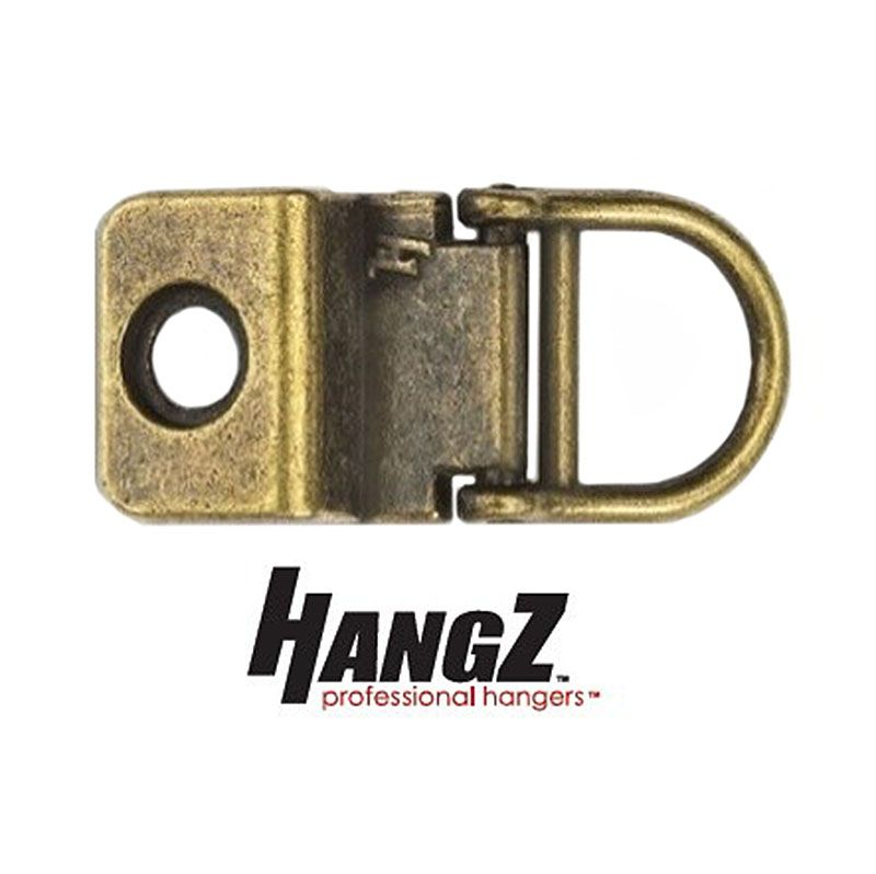 HangZ Flat Mount 1 Hole D-Ring Antique Finish + Screws