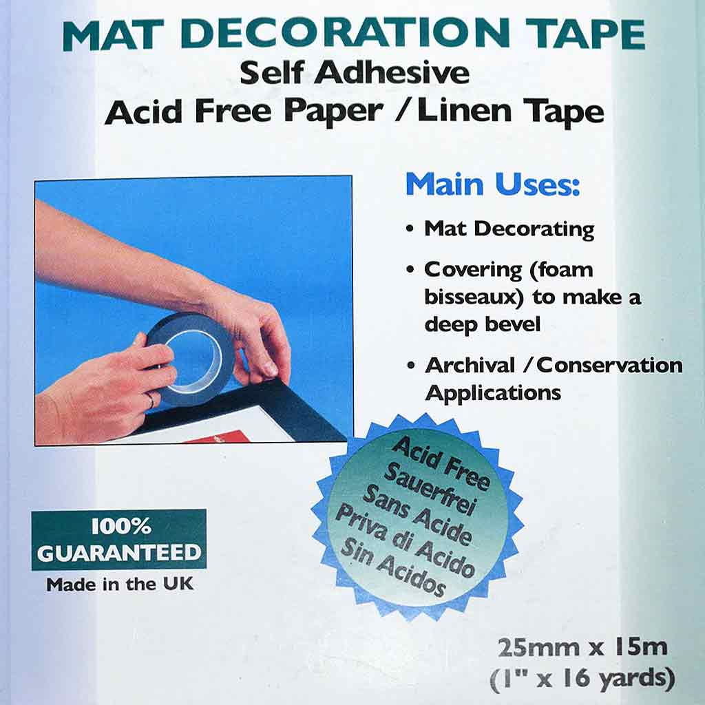 Mat Decoration Tape - Ivory Verge 25mm x 15m roll.