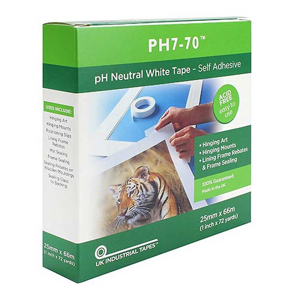 Self Adhesive pH7-70 Conservation Mounting and Hinging Tape 25mm x 66m (boxed)