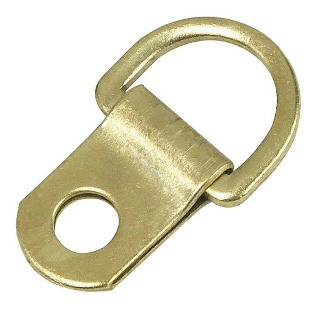 Solid D 1 Hole D-Ring, brass plated